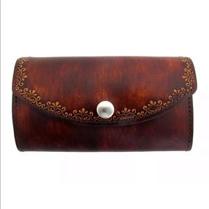 Handbags - Womens Wallet Brown Leather Floral Design CUTE